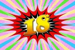 Inscription `18` in cartoon style. Pop art style vector illustration