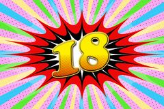 Inscription `18` in cartoon style. Pop art style royalty free illustration