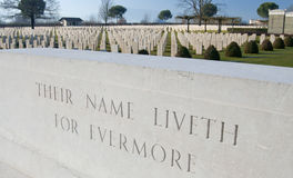 Inscription at Cassino War cemetery Royalty Free Stock Image
