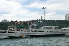 the inscription of the city of Pattaya by the sea royalty free stock photography