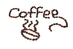 Inscription of coffee beans Stock Images