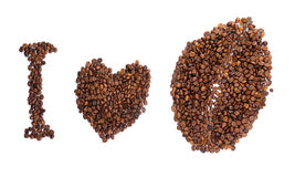 The inscription of the coffee beans Royalty Free Stock Photos