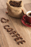 Inscription of coffee from coffee grains Stock Photos