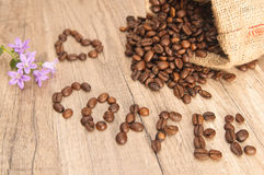 Inscription of coffee from coffee grains Royalty Free Stock Image