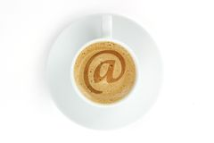 The inscription on coffee froth at Royalty Free Stock Image