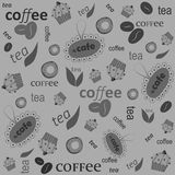 Inscription of coffee tea on a gray. Vector pattern. Inscription of coffee, tea on a gray background. Suitable for cafes Stock Images
