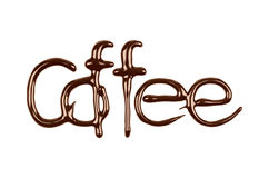Inscription Coffee written by chocolate isolated on white. Background stock images