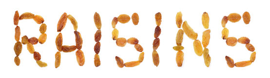 Inscription. Collection of various raisins isolated on white bac Royalty Free Stock Image