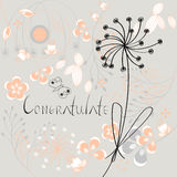 Inscription Congratulate with flowers. Universal template for greeting card, web page, background Royalty Free Stock Photos