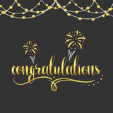 Inscription Congratulations in gold color, garland. Congratulations gold. Gold text. The inscription Congratulations with fireworks, festoons, monograms and Royalty Free Stock Images