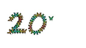 Inscription 20 consisting of multi-colored butterflies. Inscription 20, consisting of multi-colored butterflies logo Royalty Free Stock Image