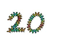 Inscription 20 consisting of multi-colored butterflies. Inscription 20, consisting of multi-colored butterflies logo Royalty Free Stock Photography