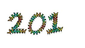 Inscription 201 consisting of multi-colored butterflies. Inscription 201 new year, consisting of multi-colored butterflies Royalty Free Stock Photography