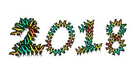 Inscription 2018 consisting of multi-colored butterflies. Inscription 2018 new year, consisting of multi-colored butterflies Stock Images