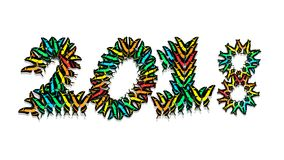 Inscription 2018 consisting of multi-colored butterflies. Inscription 2018 new year, consisting of multi-colored butterflies Royalty Free Stock Photos