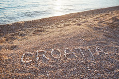 The inscription Croatia on the pebbles Royalty Free Stock Images