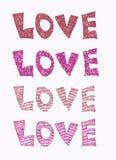 Inscription d'amour avec le coeur Photographie stock