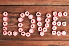 Inscription d'amour par des sucreries Photo libre de droits