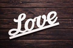 Inscription d'amour sur un bois Images libres de droits