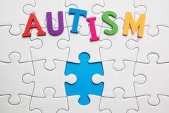 Inscription d'autisme sur un fond blanc de puzzle image libre de droits