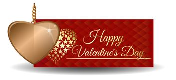 Inscription d'or de jour de coeur et de valentines Photographie stock libre de droits