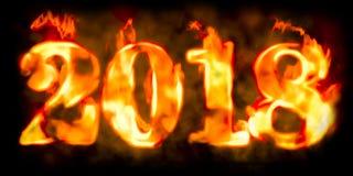 Inscription 2018, 3D du feu Images stock