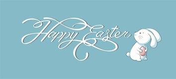 Inscription de bannière, lettrage de main, calligraphie, fond heureux de bleu de lapin de Pâques de typographie Photos libres de droits