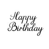 Inscription de calligraphie de joyeux anniversaire Carte de voeux manuscrite Calligraphie d'encre Photos stock