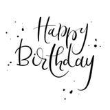 Inscription de calligraphie de joyeux anniversaire Texte manuscrit d'encre de brosse pour la carte de voeux d'anniversaire Images stock