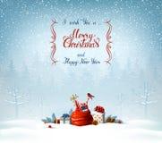 Inscription de calligraphie de Joyeux Noël et de bonne année Symboles de fête sur le fond de vacances Photographie stock