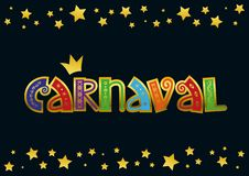 Inscription de Carnaval avec l'ornement d'or dans vert, rouge, orange, bleu, pourpre sur le fond foncé avec des étoiles illustration stock