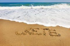 Inscription de Crète sur le sable Image libre de droits
