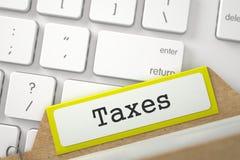 Inscription de dossier aux impôts d'inscription Images libres de droits