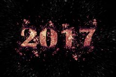 Inscription de explosion 2017 sur un fond noir Photo stock