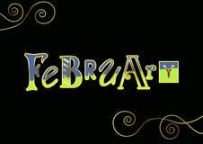 Inscription de février avec différentes lettres dans bleu et vert avec les contours d'or et les éléments décoratifs sur le noir illustration stock