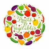 Inscription de fruits et légumes Illustration Stock
