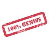 Inscription de génie de 100 pour cent dans le cadre de rectangle Tampon en caoutchouc rouge d'encre avec la texture approximative Photo stock