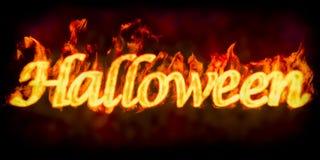 Inscription de Halloween du feu, 3D Photos stock
