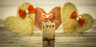 Inscription de jour de valentines avec amour Photo stock