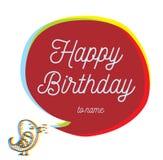 Inscription de joyeux anniversaire Carte de voeux avec l'oiseau Images stock