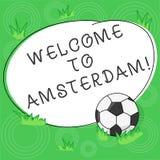 Inscription de l'accueil d'apparence de note à Amsterdam La salutation de présentation de photo d'affaires quelqu'un visite la ca illustration de vecteur