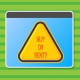 Inscription de l'achat ou du loyer d'apparence de note Doute de présentation de photo d'affaires entre posséder quelque chose pou illustration libre de droits