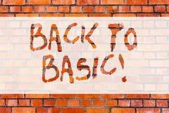 Inscription de l'apparence de note de nouveau à de base Base primaire essentielle de présentation de principe fondamental simple  photos stock