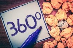 Inscription de l'apparence 360 de note Présentation de photo d'affaires complète incorporant tous les points de vue capables tour images stock