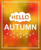 Inscription de l'automne de bonjour et du fond de couleur de chute Carte avec le texte Image libre de droits