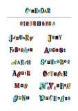 Inscription de l'ensemble de mois de l'année et des nombres avec les lettres noires sur des formes colorées illustration stock
