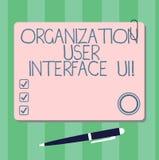 Inscription de l'interface utilisateurs d'organisation d'apparence de note Ui Photo d'affaires présentant des stratégies en ligne illustration libre de droits
