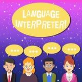 Inscription de l'interprète de langue d'apparence de note La présentation de photo d'affaires donnent des messages entre deux l illustration libre de droits