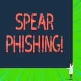 Inscription de la lance Phishing d'apparence de note Photo d'affaires pr?sentant envoyant de faux emails pour extraire des donn?e illustration libre de droits