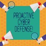 Inscription de la note montrant la défense proactive de Cyber Anticipation de présentation de photo d'affaires pour s'opposer à i illustration libre de droits